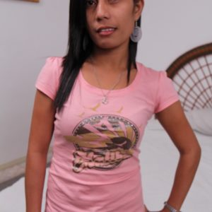 Filipina Bargirl Ashley in a pink shirt