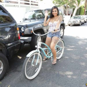 Mature asian american babe bike riding