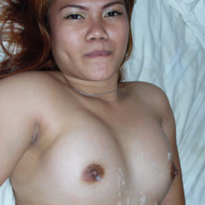 Chubby Asian Slut with cum on her tits