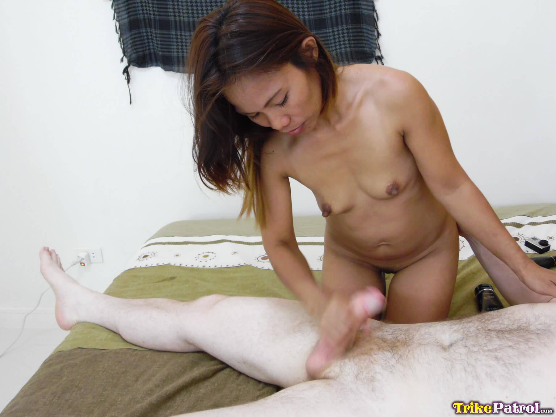 Son massaging moms nylon feet