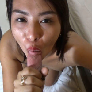 Filipina swallows white penis head