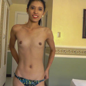 flat chested asian topless